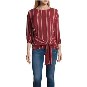 """NWT a.n.a Crew Neck Tie Front 3/4"""" Sleeve Top"""